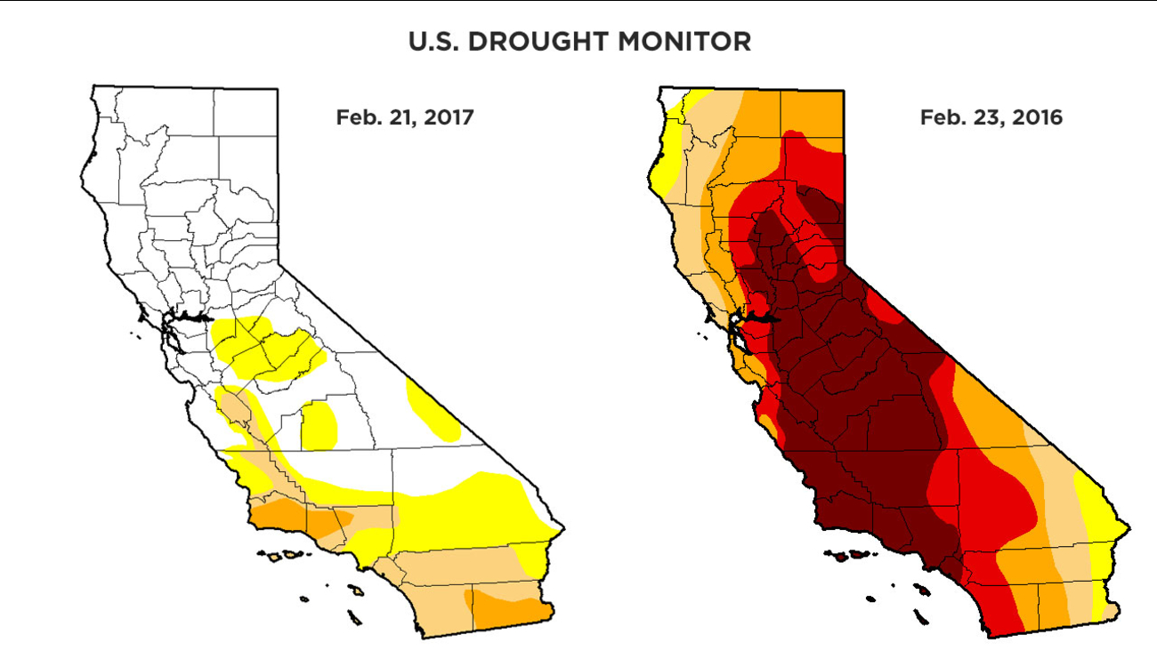 Map images from the U.S. Drought Monitor show side-by-side comparisons of dry conditions of the state on Feb. 21, 2017 and Feb. 23, 2016.