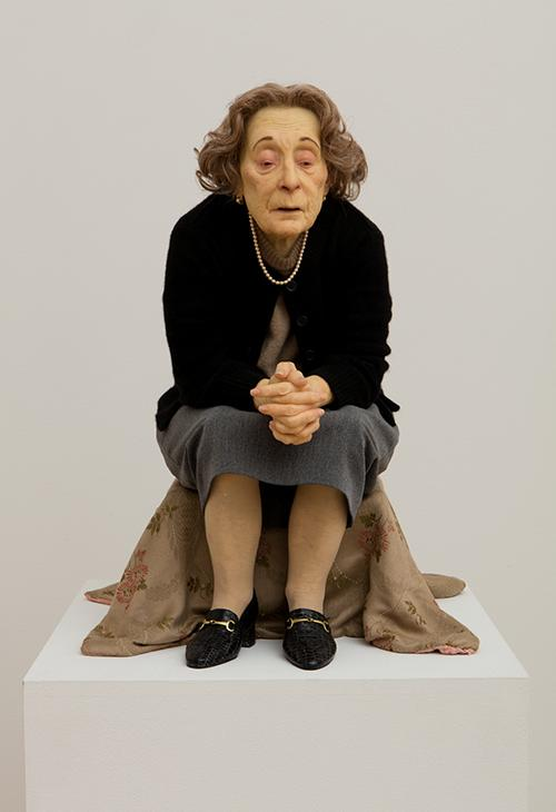 "<div class=""meta image-caption""><div class=""origin-logo origin-image ktrk""><span>KTRK</span></div><span class=""caption-text"">Ron Mueck, Untitled (Seated Woman), 1999, mixed media, Collection of the Modern Art Museum of Fort Worth, Museum purchase. Photograph by Kevin Todora. © Ron Mueck</span></div>"