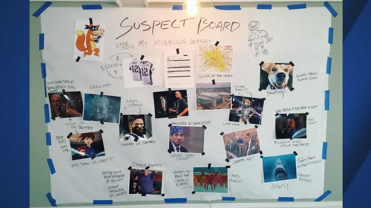 Tom Brady created this suspect board to find whoever stole his missing Super Bowl Li jersey.