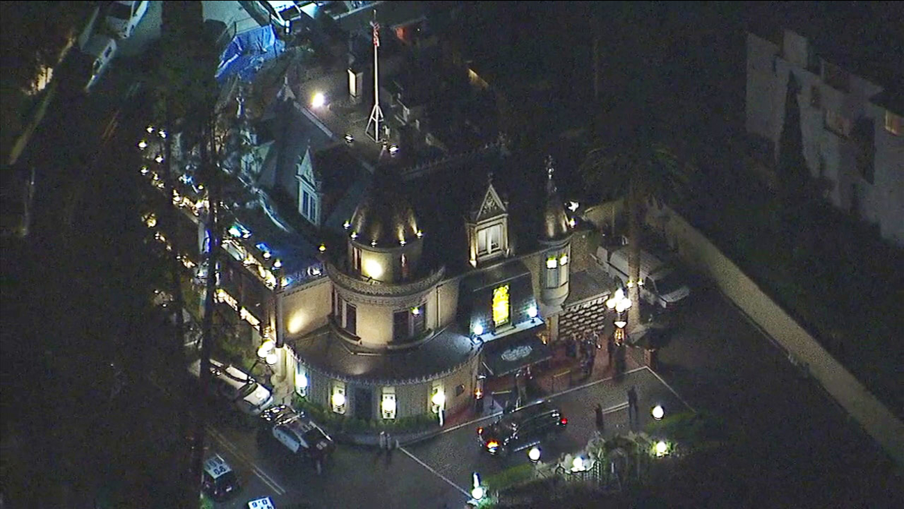 Patrol cars at a death investigation incident inside Hollywood's famous Magic Castle on Friday, Feb. 24, 2017.