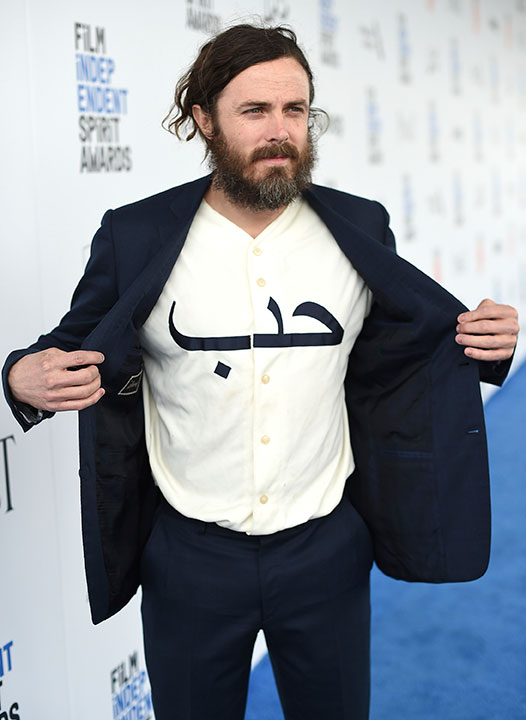 "<div class=""meta image-caption""><div class=""origin-logo origin-image none""><span>none</span></div><span class=""caption-text"">Casey Affleck displays his shirt with the Arabic word ""love"" as he arrives at the Film Independent Spirit Awards on Saturday, Feb. 25, 2017, in Santa Monica, Calif. (Jordan Strauss/Invision/AP)</span></div>"