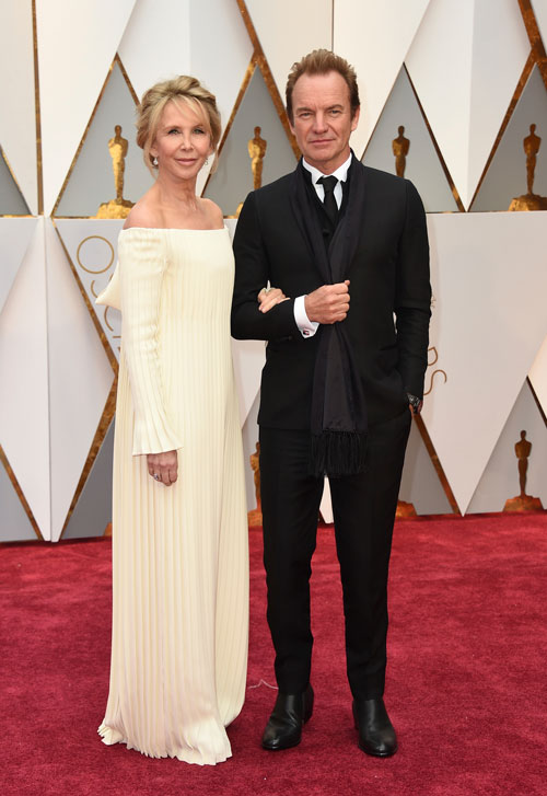 <div class='meta'><div class='origin-logo' data-origin='AP'></div><span class='caption-text' data-credit='Photo by Jordan Strauss/Invision/AP'>Trudie Styler, left, and Sting arrive at the Oscars on Sunday, Feb. 26, 2017, at the Dolby Theatre in Los Angeles.</span></div>