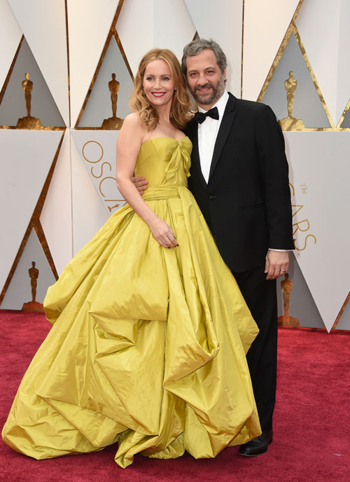 <div class='meta'><div class='origin-logo' data-origin='AP'></div><span class='caption-text' data-credit='Photo by Jordan Strauss/Invision/AP'>Leslie Mann, left, and Judd Apatow arrive at the Oscars on Sunday, Feb. 26, 2017, at the Dolby Theatre in Los Angeles.</span></div>