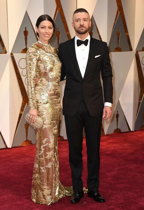 <div class='meta'><div class='origin-logo' data-origin='AP'></div><span class='caption-text' data-credit='Photo by Jordan Strauss/Invision/AP'>Jessica Biel, left, and Justin Timberlake arrive at the Oscars on Sunday, Feb. 26, 2017, at the Dolby Theatre in Los Angeles.</span></div>
