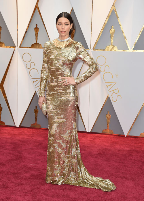 <div class='meta'><div class='origin-logo' data-origin='AP'></div><span class='caption-text' data-credit='Photo by Jordan Strauss/Invision/AP'>Jessica Biel arrives at the Oscars on Sunday, Feb. 26, 2017, at the Dolby Theatre in Los Angeles.</span></div>
