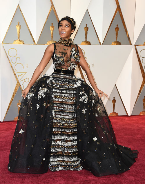 "<div class=""meta image-caption""><div class=""origin-logo origin-image ap""><span>AP</span></div><span class=""caption-text"">Janelle Monae arrives at the Oscars on Sunday, Feb. 26, 2017, at the Dolby Theatre in Los Angeles. (Photo by Jordan Strauss/Invision/AP)</span></div>"