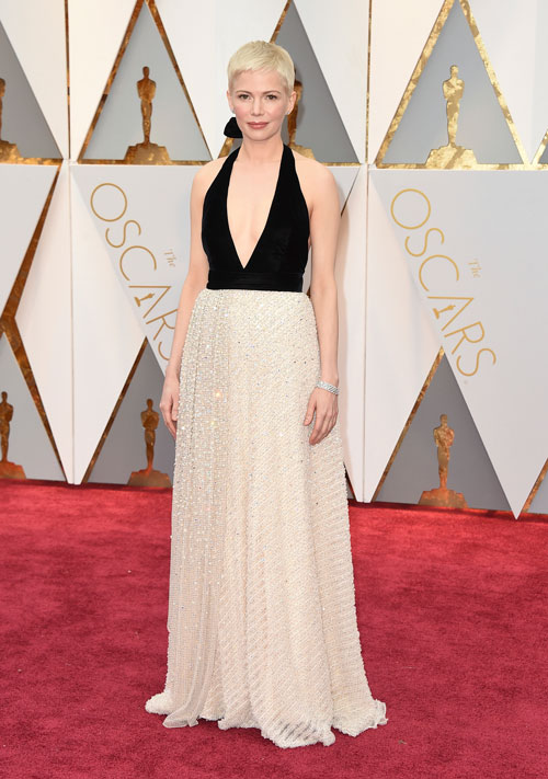 """<div class=""""meta image-caption""""><div class=""""origin-logo origin-image ap""""><span>AP</span></div><span class=""""caption-text"""">Michelle Williams arrives at the Oscars on Sunday, Feb. 26, 2017, at the Dolby Theatre in Los Angeles. (Photo by Jordan Strauss/Invision/AP)</span></div>"""