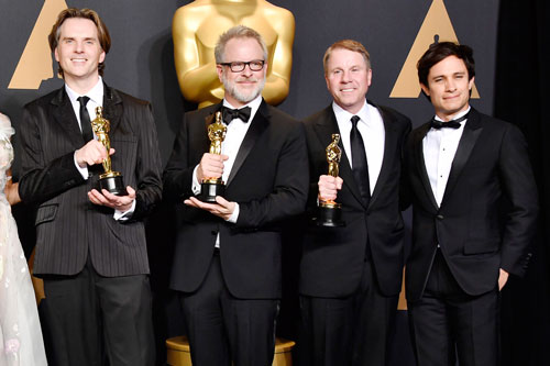 <div class='meta'><div class='origin-logo' data-origin='none'></div><span class='caption-text' data-credit='Photo by Frazer Harrison/Getty Images'>(L-R) Co-directors Byron Howard and Rich Moore and producer Clark Spencer, winners of the Best Animated Feature Film award for 'Zootopia' and actor Gael Garcia Bernal.</span></div>