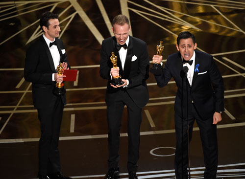 <div class='meta'><div class='origin-logo' data-origin='AP'></div><span class='caption-text' data-credit='Photo by Chris Pizzello/Invision/AP'>Justin Hurwitz accepts the award for best original score for &#34;La La Land&#34; at the Oscars on Sunday, Feb. 26, 2017, at the Dolby Theatre in Los Angeles.</span></div>