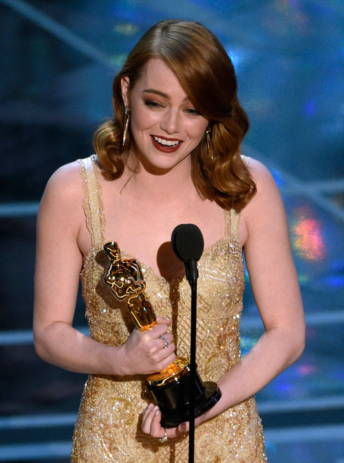 <div class='meta'><div class='origin-logo' data-origin='AP'></div><span class='caption-text' data-credit='Photo by Chris Pizzello/Invision/AP'>Emma Stone accepts the award for best actress in a leading role for &#34;La La Land&#34; at the Oscars on Sunday, Feb. 26, 2017, at the Dolby Theatre in Los Angeles.</span></div>