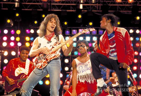 "<div class=""meta image-caption""><div class=""origin-logo origin-image none""><span>none</span></div><span class=""caption-text"">Eddie Van Halen joins Michael Jackson onstage to perform a guitar solo to 'Beat It' during Jackson's Victory Tour show in Dallas. (Harrison Funk/ALL RIGHTS RESERVED)</span></div>"