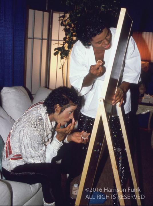 "<div class=""meta image-caption""><div class=""origin-logo origin-image none""><span>none</span></div><span class=""caption-text"">Michael and Jermaine Jackson apply their makeup before a Victory Tour performance. (Harrison Funk/ALL RIGHTS RESERVED)</span></div>"