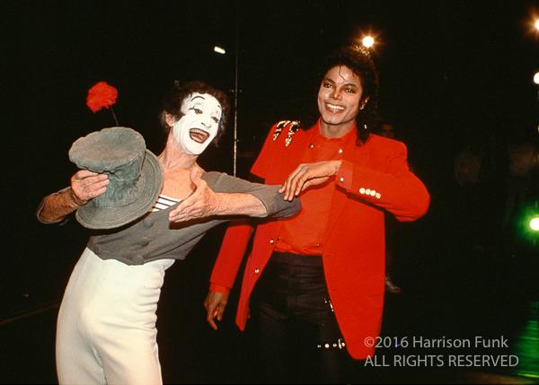 "<div class=""meta image-caption""><div class=""origin-logo origin-image none""><span>none</span></div><span class=""caption-text"">While in London, Michael Jackson attends an evening with Marcel Marceau at Sadler's Wells Theatre. (Harrison Funk/ALL RIGHTS RESERVED)</span></div>"