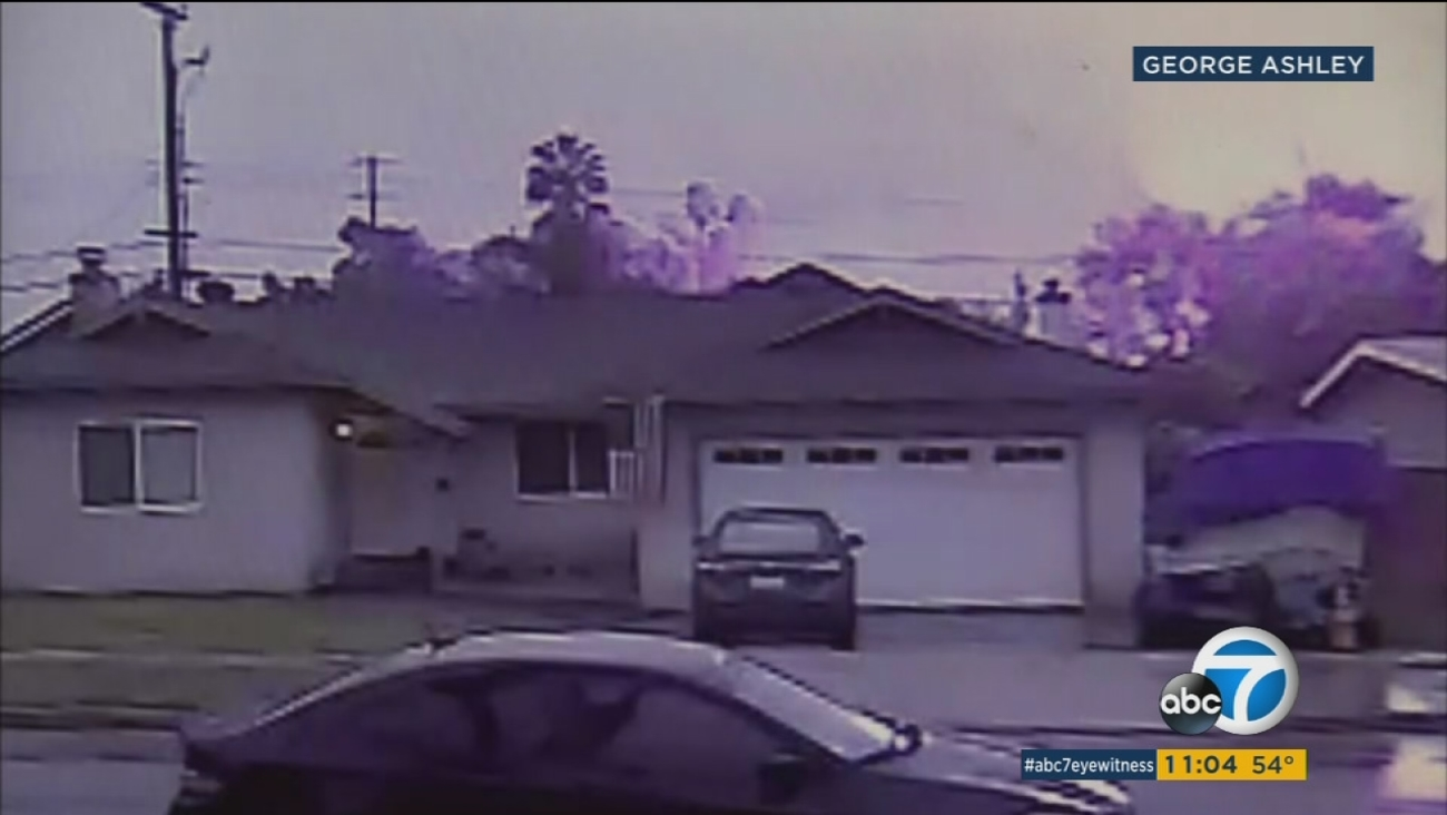Surveillance video shows the moments a plane crashes into homes in Riverside on Monday, Feb. 27, 2017.