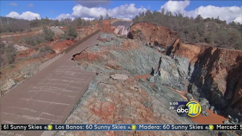 Oroville Dam spillway water shut off to clear debris