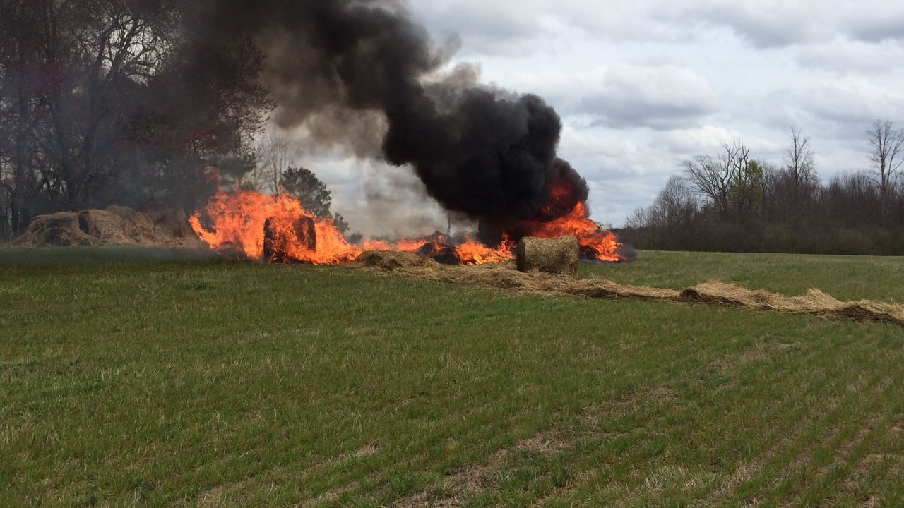The SUV caught fire (image courtesy Nash County Sheriff's Office)