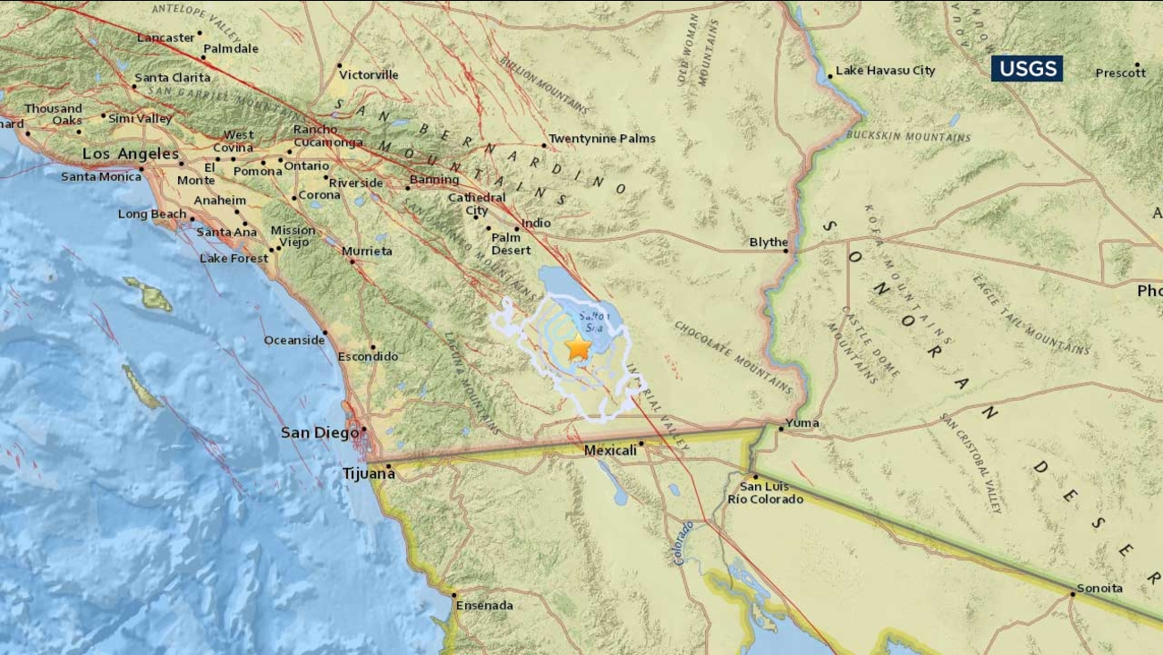 A U.S. Geological Survey map shows the location of an earthquake that hit around 13 miles south southeast of Salton City on Wednesday, March 1, 2017.