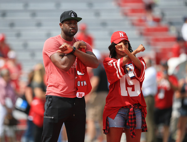 <div class='meta'><div class='origin-logo' data-origin='AP'></div><span class='caption-text' data-credit='AP'>Actress Gabrielle Union wears a Nebraska jersey as she poses for a photo with her husband Miami Heat's Dwayne Wade in 2015.</span></div>