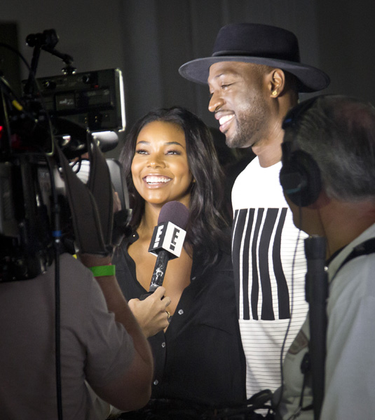 <div class='meta'><div class='origin-logo' data-origin='AP'></div><span class='caption-text' data-credit='AP Photo/Bebeto Matthews'>Actress Gabrielle Union, left, and Miami Heat basketball player Dwayne Wade are interviewed during the presentation of the Public School collection on Tuesday, July 14, 2015.</span></div>