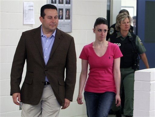 "<div class=""meta image-caption""><div class=""origin-logo origin-image none""><span>none</span></div><span class=""caption-text"">In this Sunday, July 17, 2011 file photo, Casey Anthony, front right, walks out of the Orange County Jail with her attorney Jose Baez. (AP)</span></div>"