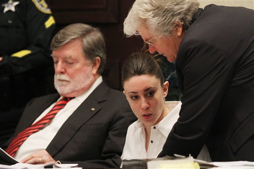 "<div class=""meta image-caption""><div class=""origin-logo origin-image none""><span>none</span></div><span class=""caption-text"">Casey Anthony, center, sits at the defense table with her attorneys Cheney Mason, left, and Anne Finnell, right, before the start of her murder trial. (AP)</span></div>"