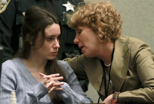 "<div class=""meta image-caption""><div class=""origin-logo origin-image none""><span>none</span></div><span class=""caption-text"">Casey Anthony, left, talks with her attorney, Dorothy Clay Sims, during a sentencing hearing in Orlando, Fla. on Thursday, July 7, 2011. (AP)</span></div>"