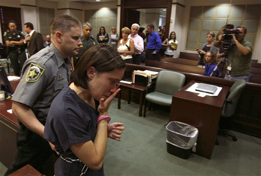 "<div class=""meta image-caption""><div class=""origin-logo origin-image none""><span>none</span></div><span class=""caption-text"">Casey Anthony, foreground, is escorted out of the courtroom, as her parents Cindy and George Anthony, background  center, watch her leave after a bond hearing. (ASSOCIATED PRESS)</span></div>"