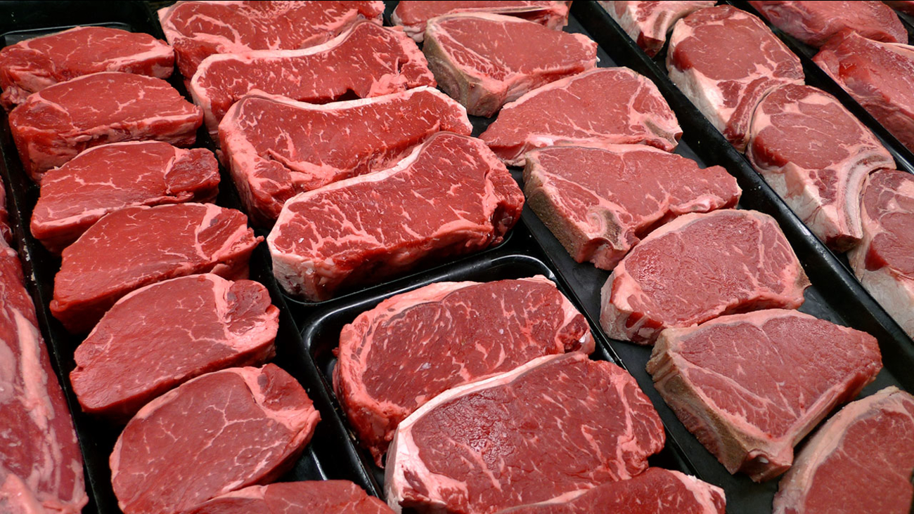 File photo shows steaks and other beef products displayed for sale at a grocery store