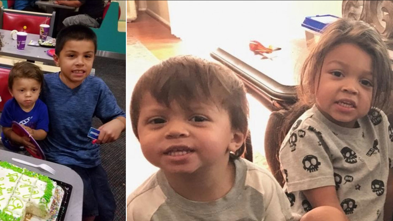 Elijah Estrada, 10, is shown in a photo with Noah Abbot, 2, alongside another photo of Noah and Jeremiah Abbot, 3.