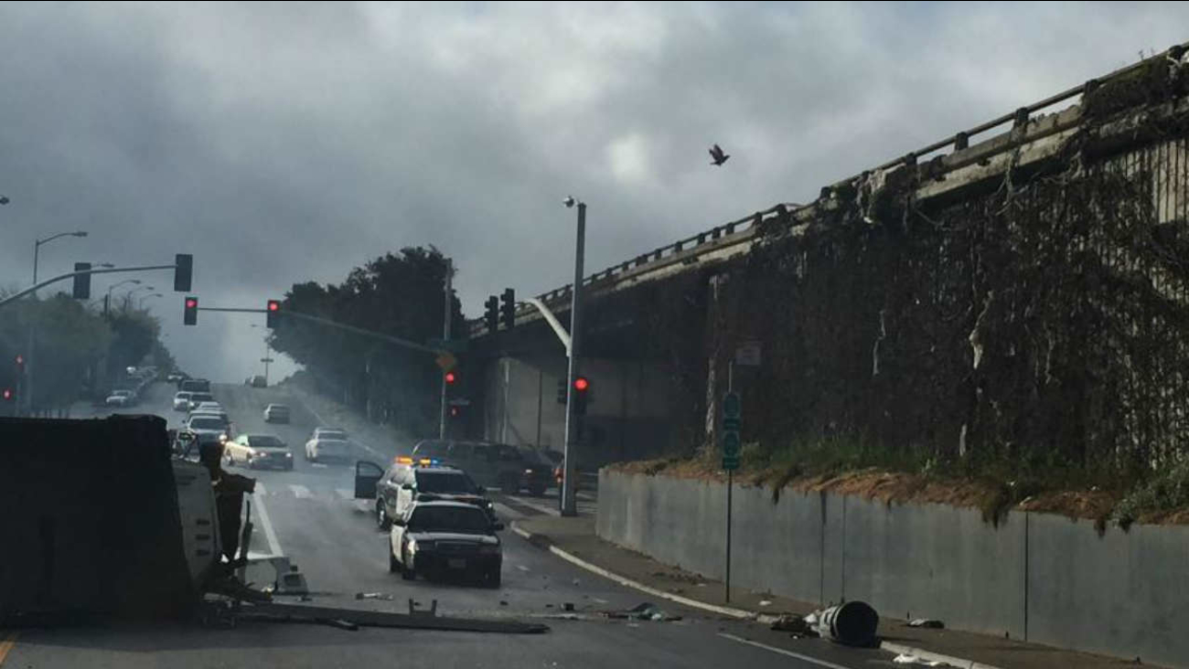 A crashed truck is seen on a San Francisco road on Saturday March 4, 2017.