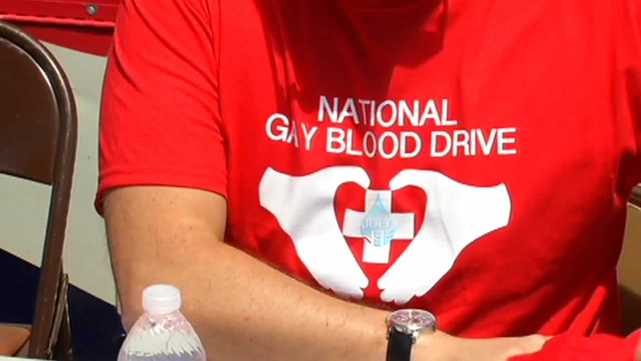 An organizer working during the National Gay Blood Drive in San Francisco.