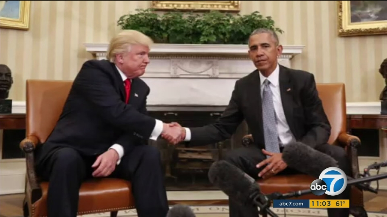 Donald Trump and Barack Obama meet at the White House in an undated photo.