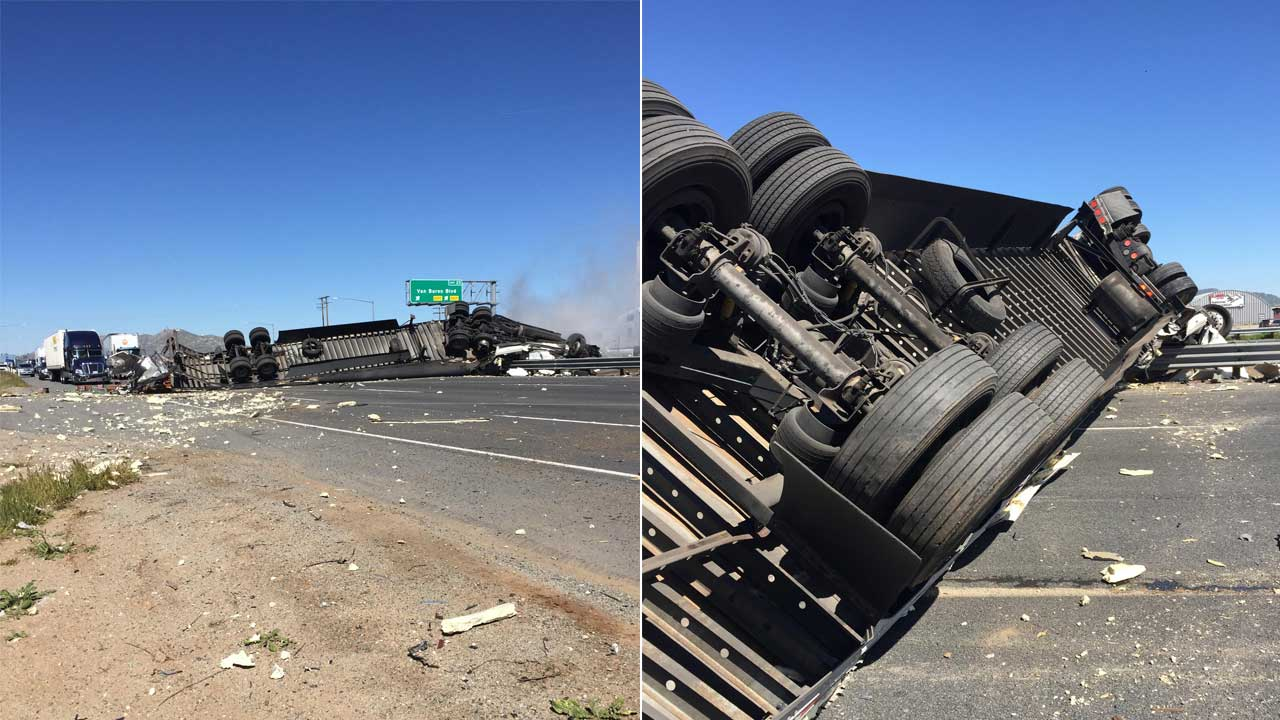 Semi-truck crash shuts down southbound 215 Freeway in ...