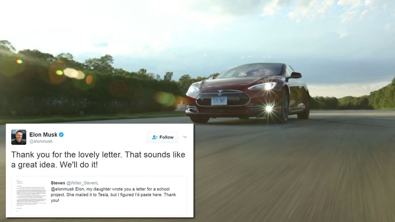 Elon Musk responded to a fifth-grader's suggestion to hold a competition for best Tesla commercial.