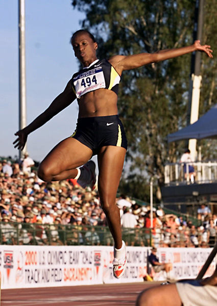 "<div class=""meta image-caption""><div class=""origin-logo origin-image none""><span>none</span></div><span class=""caption-text"">Jackie Joyner-Kersee makes her second jump in the qualifiying round of the U.S. Olympic Team Track and Field Trials held  in Sacramento, Calif., Friday, July 14,. 2000. (AP Photo/Rich Pedroncelli)</span></div>"