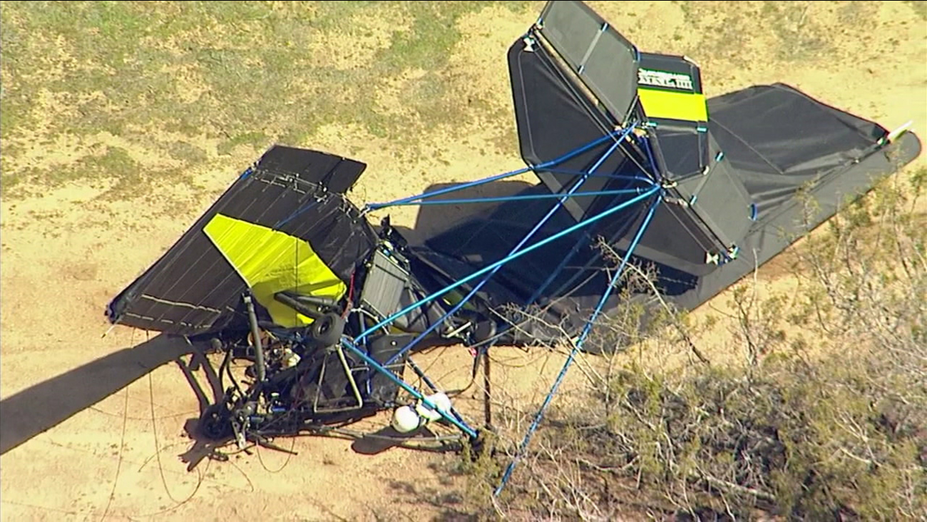 The wreckage of a small plane crash is seen near Hesperia Airport on Tuesday, March 7, 2017.
