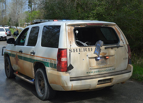 <div class='meta'><div class='origin-logo' data-origin='none'></div><span class='caption-text' data-credit='PolkCountyToday.com'>Bullet holes (grouped tightly on the driver's side) and a shot out back windshield are visible in the patrol unit driven by Deputy Josh Sanders.</span></div>