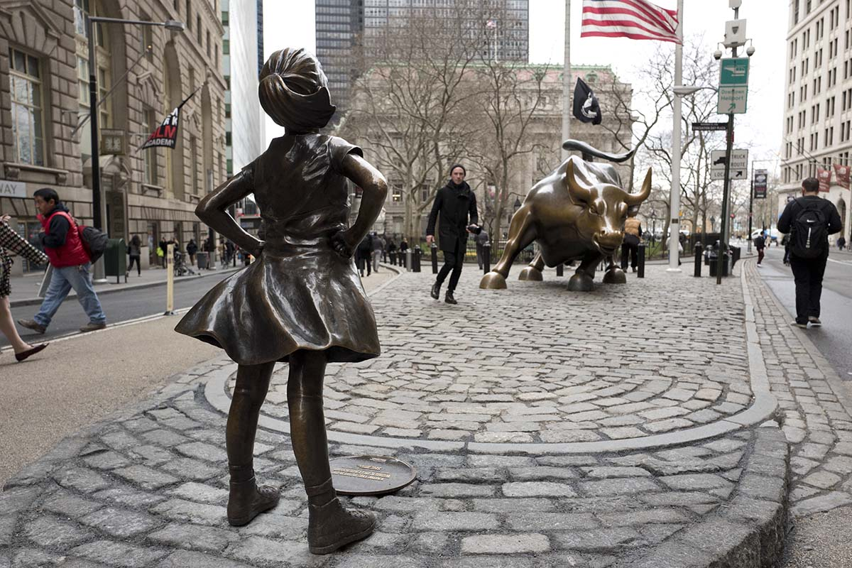 <div class='meta'><div class='origin-logo' data-origin='AP'></div><span class='caption-text' data-credit='AP Photo/Mark Lennihan'>A statue titled &#34;Fearless Girl&#34; faces the Wall Street bull, Wednesday, March 8, 2017, in New York.</span></div>