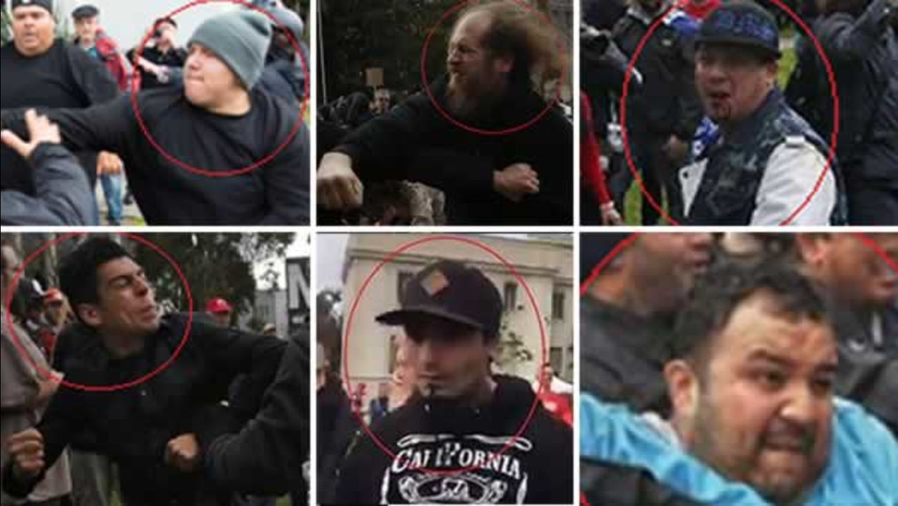 Berkeley police need help identifying these six individuals, who they say were involved in violence at dueling Donald Trump protests and rallies on Saturday, March 4, 2017.
