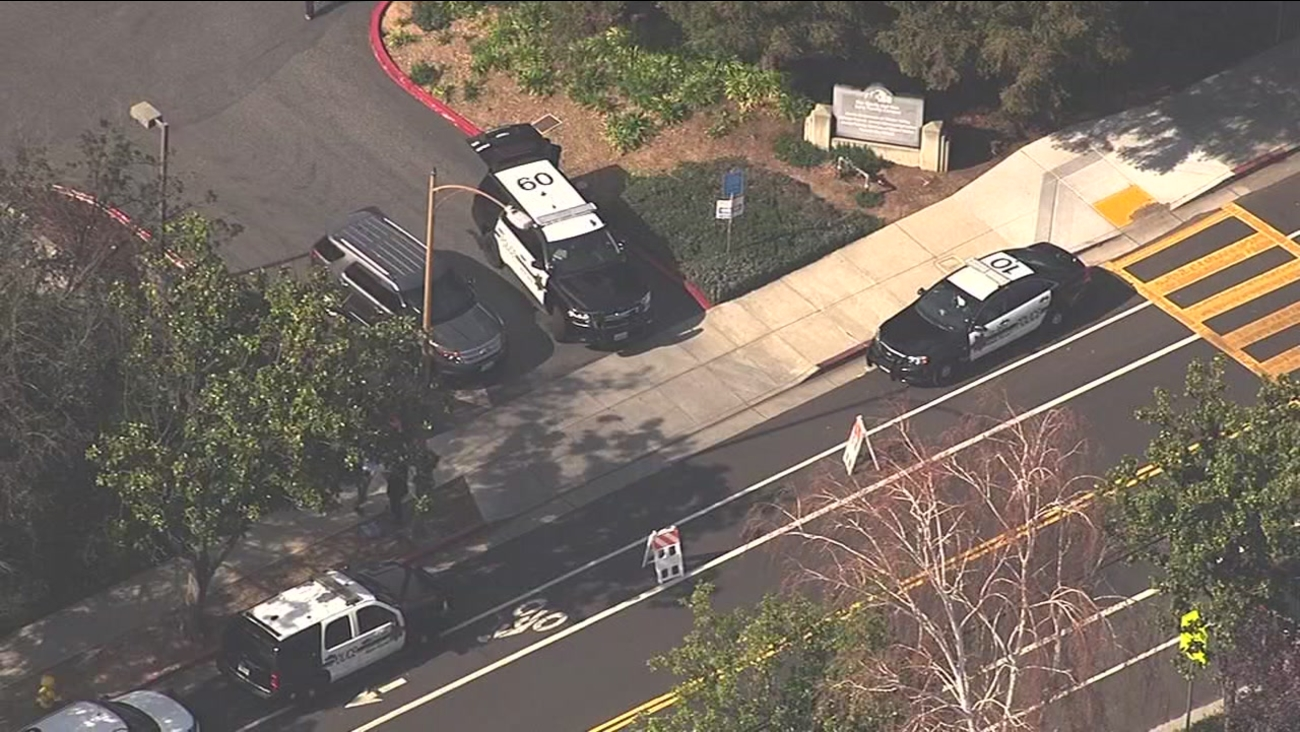 Police on the scene of a bomb threat at the Jewish Community Center in Los Gatos, California are seen on Thursday March 9, 2017.