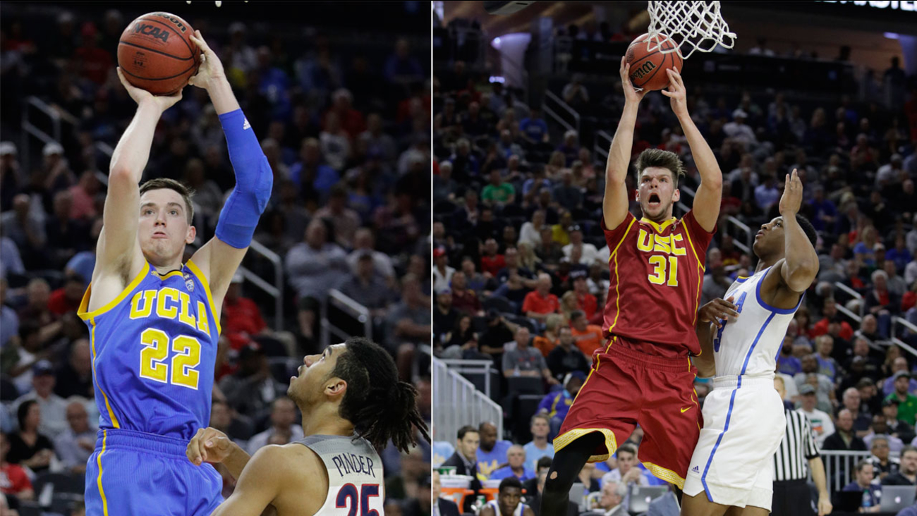 Players from UCLA (L) and USC (R) are shown during the NCAA college basketball quarterfinals and semifinals of the Pac-12 men's tournament.