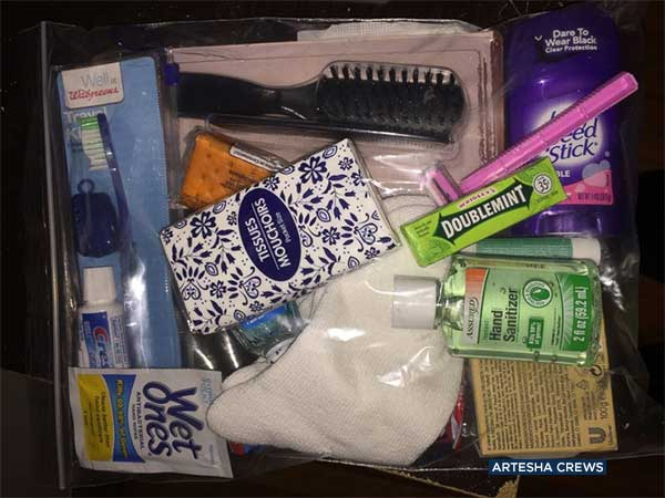 An example of a care package created for Armani Crews' birthday party to feed the homeless.