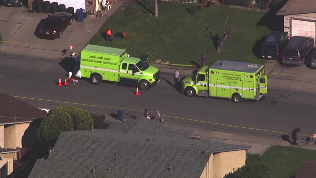 Hazmat crews are on the scene of a mercury contamination on Manzanita Way in Antioch, Calif. on Monday, March 13, 2017.