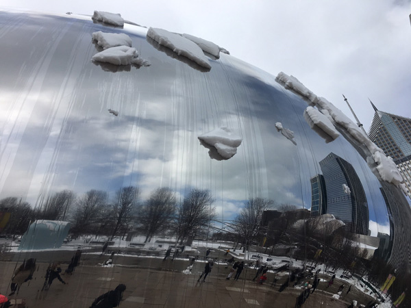 <div class='meta'><div class='origin-logo' data-origin='WLS'></div><span class='caption-text' data-credit=''>Several inches of fresh snow blanketed Cloud Gate at Millennium Park on March 14, 2017.</span></div>