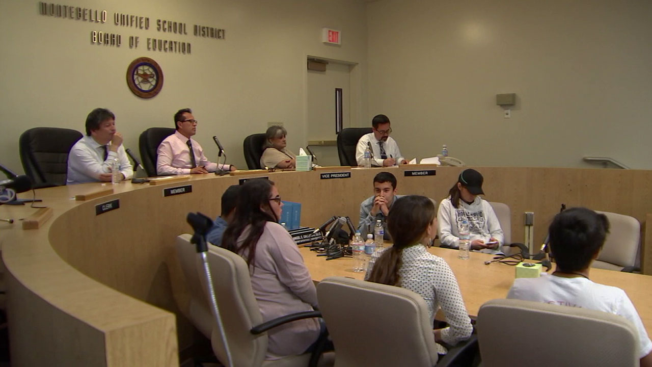 Board members of the Montebello Unified School District are shown in a file photo.
