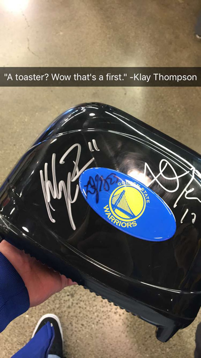 RDollaz shared photos on Imgur of Golden State Warriors star Klay Thompson signing his toaster at an event in March 2017 in San Francisco.