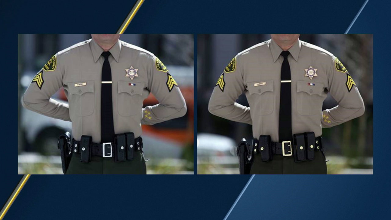 Images show a Los Angeles County sheriff's deputy uniform with silver and brass belt buckles.