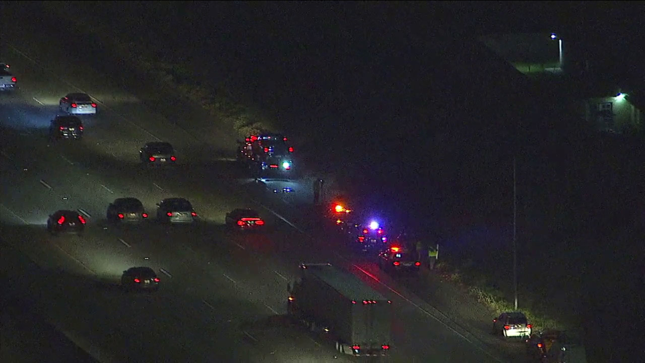 Authorities investigated the shooting of two people in separate vehicles on the 210 Freeway in Rialto on Tuesday, March 14, 2017.