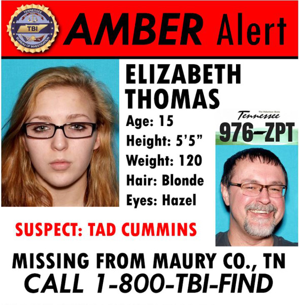 <div class='meta'><div class='origin-logo' data-origin='none'></div><span class='caption-text' data-credit='Tennessee Bureau of Investigation'>An Amber Alert has been issued for a 15-year-old girl believed to be traveling with a former teacher who police say is armed and dangerous.</span></div>