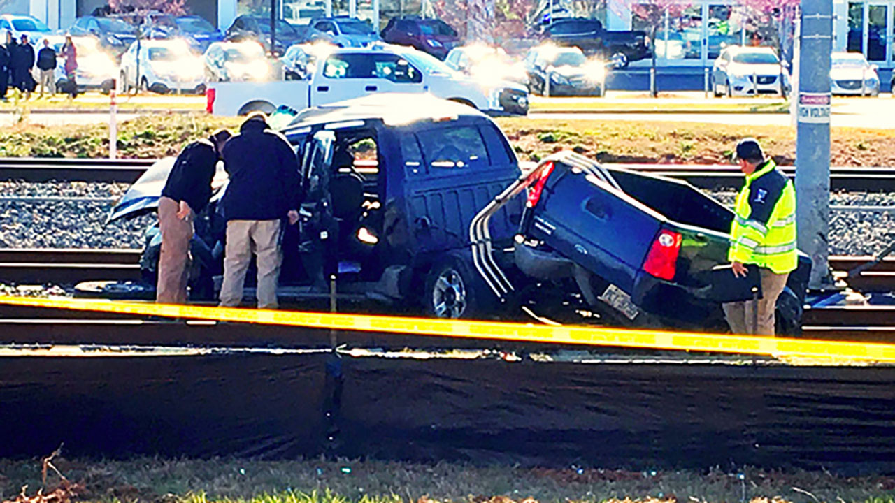 Authorities responded to the wreck at the crossing on Hebron Street, near Carolina Place Mall in Charlotte